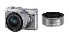 Фотоапарат Canon EOS M100 тяло + Обектив Canon EF-M 15-45mm f/3.5-6.3 IS STM + Обектив Canon EF-M 22mm f/2 STM Silver
