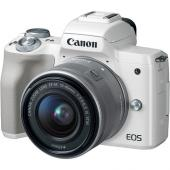 Фотоапарат Canon EOS M50 WhiteТяло + Обектив Canon EF-M 15-45mm f/3.5-6.3 IS STM + Гъвкав статив JOBY GorillaPod 1K Kit + Памет SDXC SanDisk Extreme Pro 64GB C10 V30 U3 (170MB) + Микрофон-пушка Boya BY-BM2021