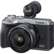 Фотоапарат Canon EOS M6 Mark II тяло Silver+ Обектив Canon EF-M 15-45mm f/3.5-6.3 IS STM + визьор Canon EVF-DC2