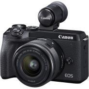 Фотоапарат Canon EOS M6 Mark II тяло Black + Обектив Canon EF-M 15-45mm f/3.5-6.3 IS STM + визьор Canon EVF-DC2